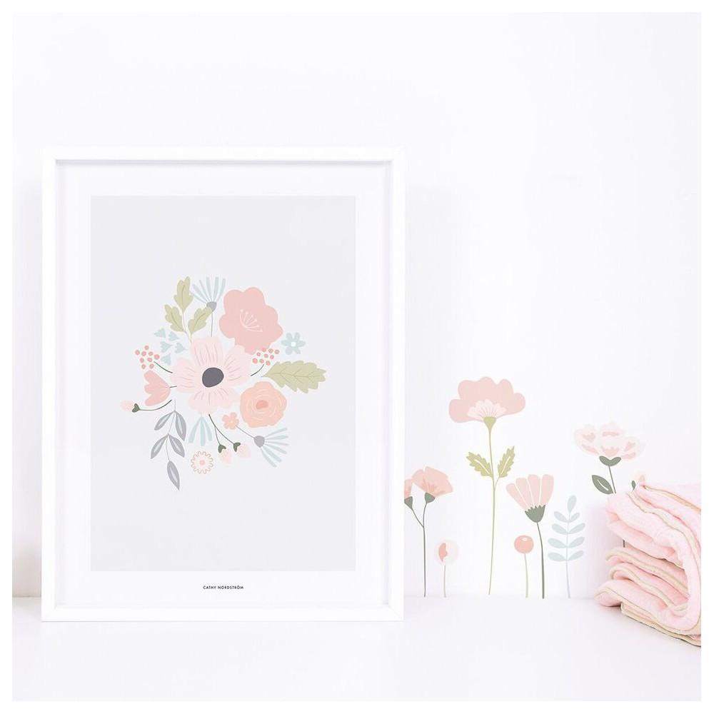 affiche bloom bouquet rond scandimagdeco With affiche chambre bébé avec bouquet rond
