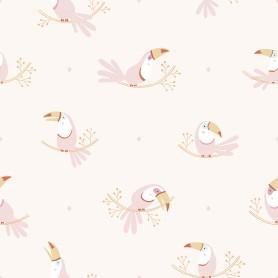 Papier peint enfant motifs toucans - rose