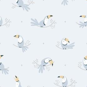 Papier peint enfant motifs toucans - Bleu