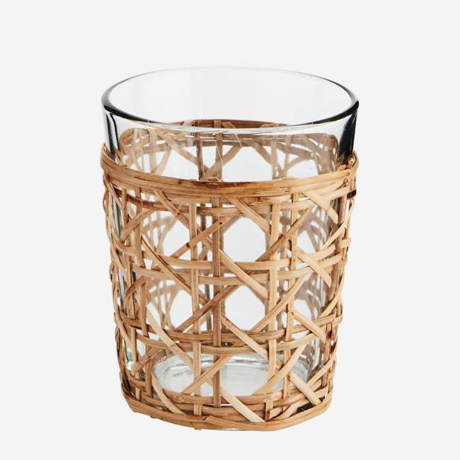 Bougeoir verre et bambou tressé