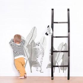 Sticker xl enfant  léopard et feuillages