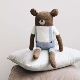 Grand doudou Ours Main sauvage - Bleu