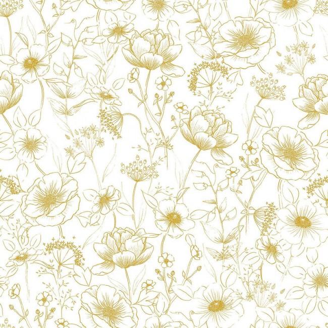Papier peint enfant fleurs Botany ocre