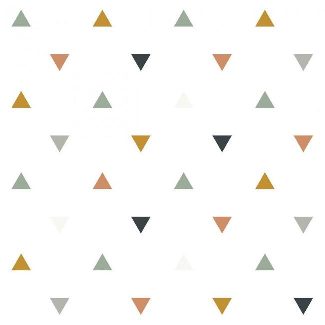 Papier peint enfant géométrique triangles bleus