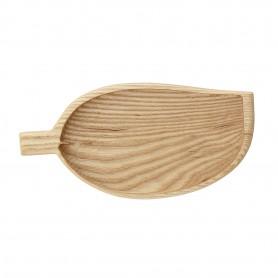 Petit plateau en bois forme de feuille