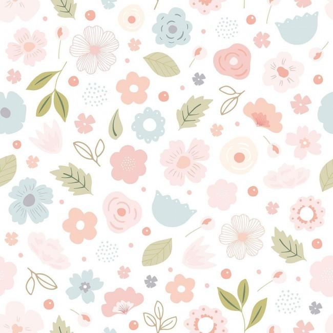 Papier peint enfant motifs fleurs Bloom