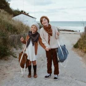 Sac à langer ou sac de voyage enfant - cœur - Bleu denim