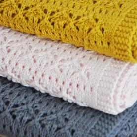 Couverture dentelle de coton - Gris souris