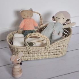 Couffin en paille pour poupée - capuchon