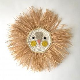 Tête de lion crochet et raphia - Jaune