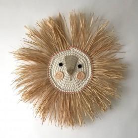 Tête de lion crochet et raphia - Fond corail