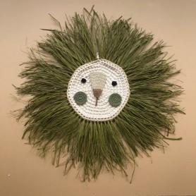 Tête de lion crochet et raphia - Olive