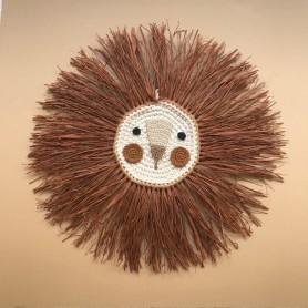 Tête de lion crochet et raphia - Noisette