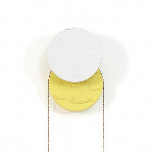 Patère murale Lou gris clair/jaune