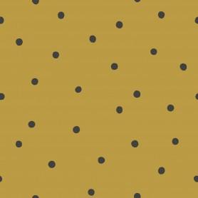 Papier peint pois destructurés - Jaune moutarde