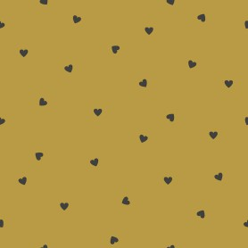 Papier peint motifs coeurs - Jaune moutarde
