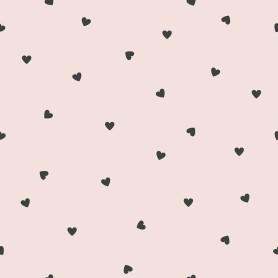 Papier peint motifs coeurs - rose