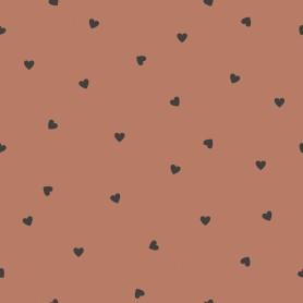 Papier peint motifs coeurs - Terracotta