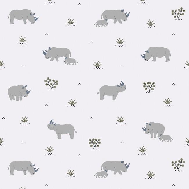 Papier Peint enfant imprimé Rhinocéros