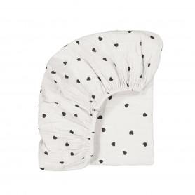 Drap housse bébé imprimé cœurs - Blanc