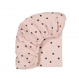 Drap housse bébé imprimé cœurs - rose