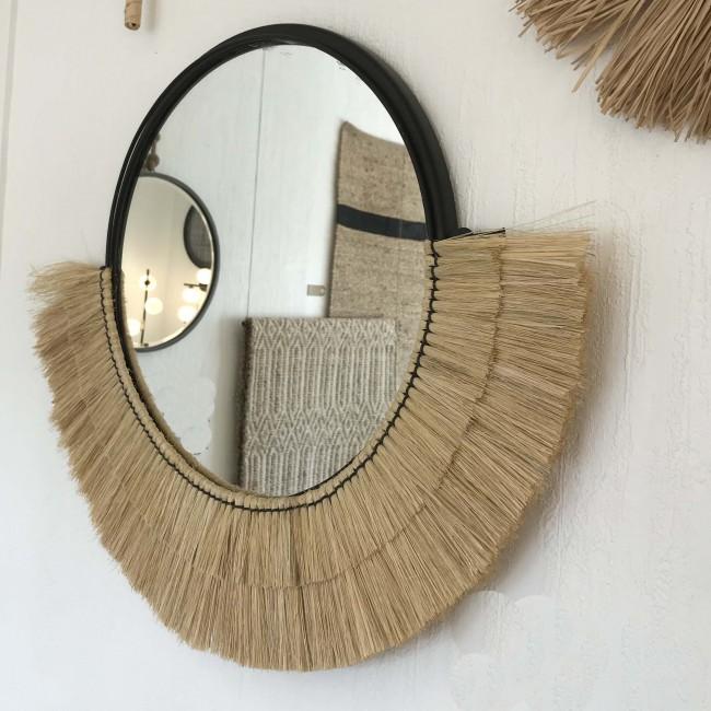 Miroir demi-lune en fibres naturelles
