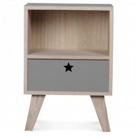 Table de chevet en bois enfant - gris