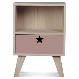 Table de chevet en bois enfant - rose