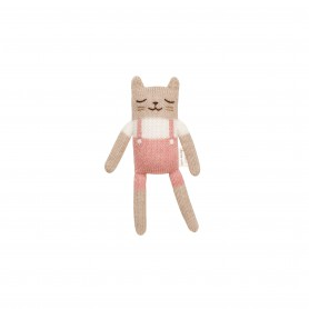 Doudou chat salopette Rose Main sauvage