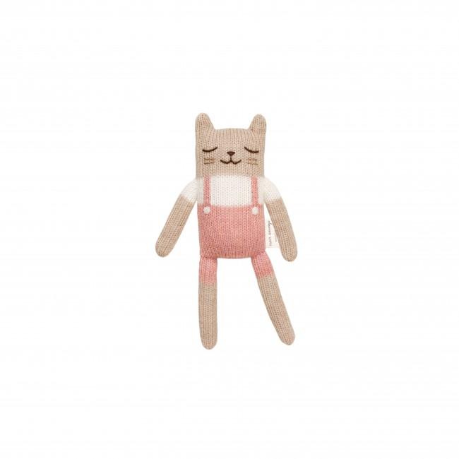 Doudou chat salopette Rose Main sauvage