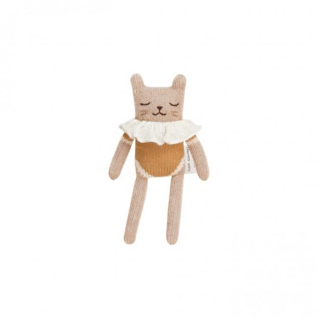 Doudou chaton maillot ocre Main Sauvage