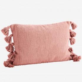 Housse de coussin à pompons - Vieux rose
