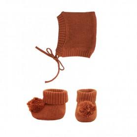 Bonnet et chausson pour poupée Olli Ella - Caramel