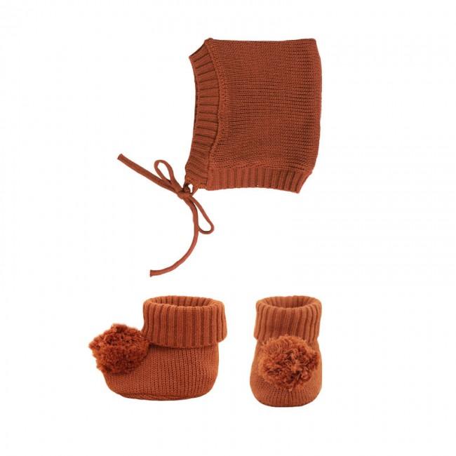 Bonnet et chausson pour poupée Olli Ella