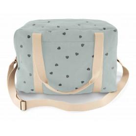 Sac à langer ou sac de voyage enfant - cœur - Bleu pale