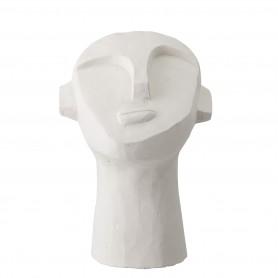 Sculpture tête abstraite en ciment blanc Bloomingville
