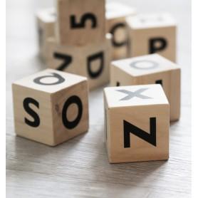 Cubes en bois jouet d'éveil bébé - Ooh Noo - Alphabet noir