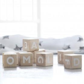 Cubes en bois jouet d'éveil bébé - Ooh Noo - Alphabet blanc