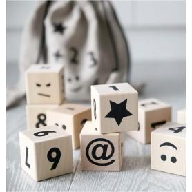 Cubes en bois jouet d'éveil bébé - Ooh Noo - Mathématiques noir