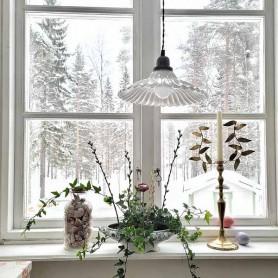 Plafonnier décoratif en verre ondulé - Blanc
