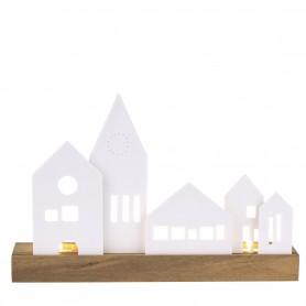 Décoration lumineuse porcelaine et bois Räder - Village