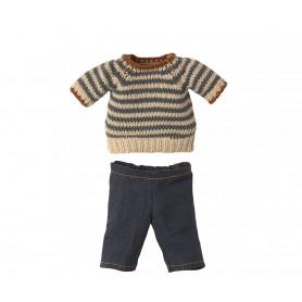 Pull tricoté et pantalon pour papa ours Teddy